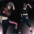 Adulto Hip hop harém Calças de dança Das Mulheres traje desgaste Preto calças Grandes virilha Estrela Salto Calças Corredores