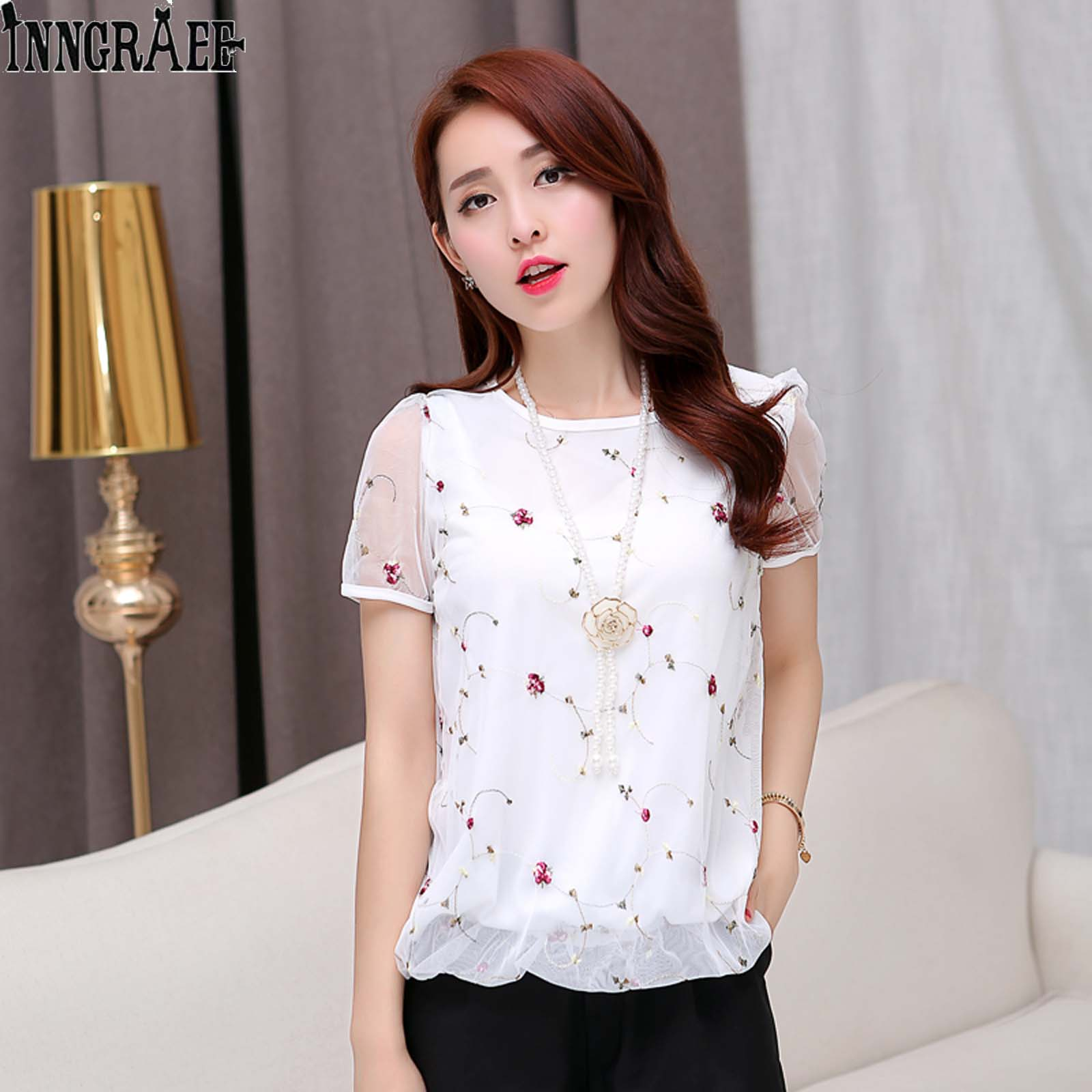 Back To Search Resultswomen's Clothing Summer Womens Chiffon Shirts Fashion New Short Sleeves Blouses Female Gauze Splicing Sweet Print Shirts Blouses Elegant Tops