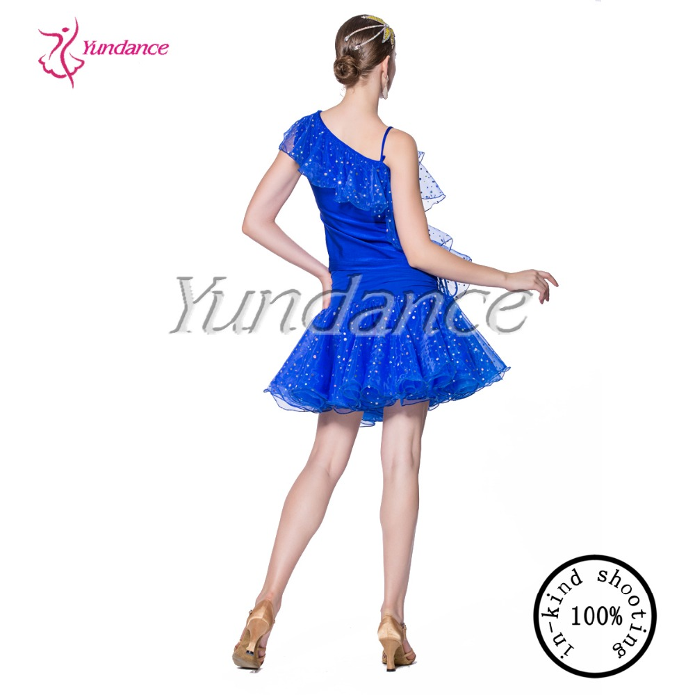 High quality costom made royal blue latin dance dress AB069