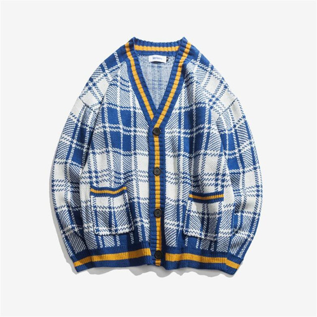 Mens Knitted Plaid Cardigan Sweater Men Open Stich V Neck Oversize