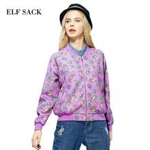 ELF SACK Women Autumn Fashion Stand Collar Long Sleeve Zipper Printed Baseball Coat