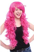 Jewelry Wig Women 70cm Long Magenta My Little Pony Pinkie Pie Curly Wavy Party Cosplay Wig Free Shipping(China)