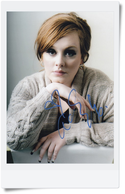 signed Adele Adkins  autographed photo 7 inches free shipping 09201703 trace adkins live from austin tx