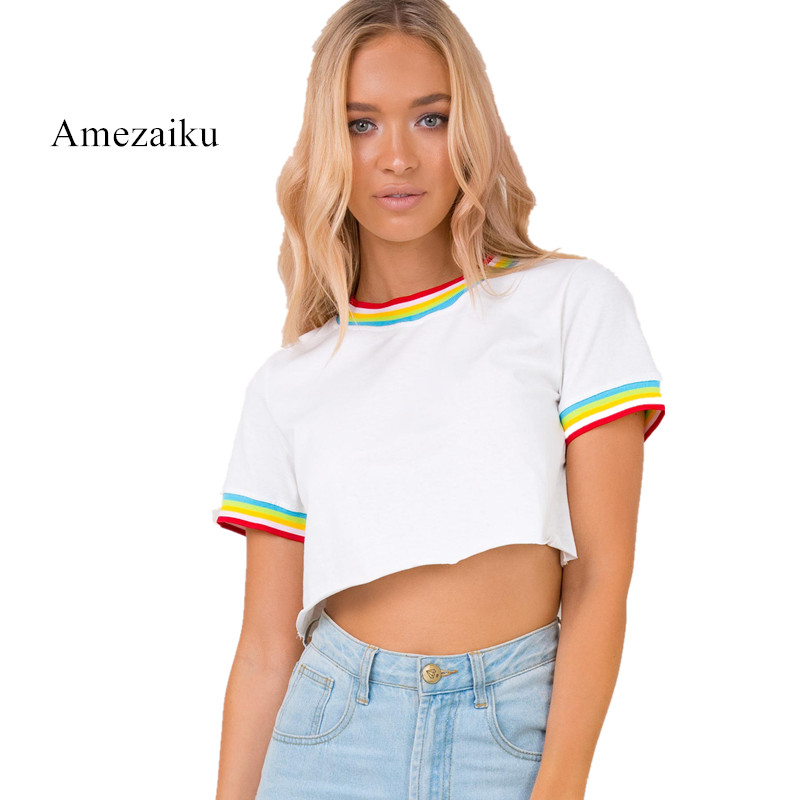 2018 short cut Contrast Trimmed Rainbow Patch Crop Tees Summer Woman T shirts Neck Short Sleeve White Casual T-Shirt