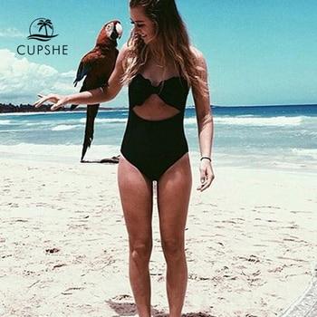 CUPSHE High Quality Cut To It Shell Bikini Women Soild Halter Cut Out One-Piece Swimsuit 2020 Girl Beach Sexy Backless Swimwear 1