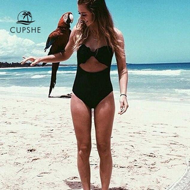 CUPSHE High Quality Cut To It Shell Bikini Women Soild Halter Cut