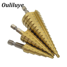 цена на 3PCS 4-32 mm HSS Titanium Coated Step Drill Bit Drilling Power Tools for Metal High Speed Steel Wood Hole Cutter Step Cone Drill