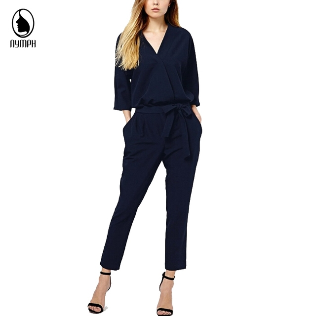 Aliexpress uk Women Jumpsuits 2016 OL Women Long Sleeve Plus Size Solid V neck Playsuits Big Size Office Bodysuits Free Shipping