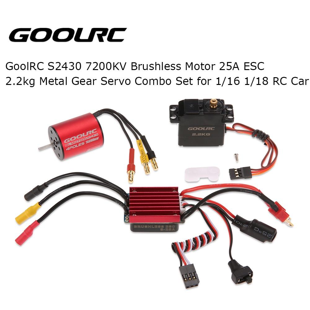 GoolRC S2430 7200KV Brushless Motor ESC 25A 2.2kg Metal Gear Servo Combo Set for 1/16 1/18 RC Car цена