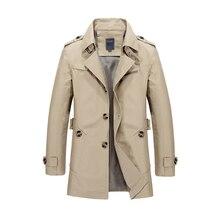 00b5599c33 Novos Homens Jaqueta de Trincheira Design de Moda Veste Homme Formal  Primavera Inverno Terno Casaco De Algodão Cáqui Sólida M-5X.