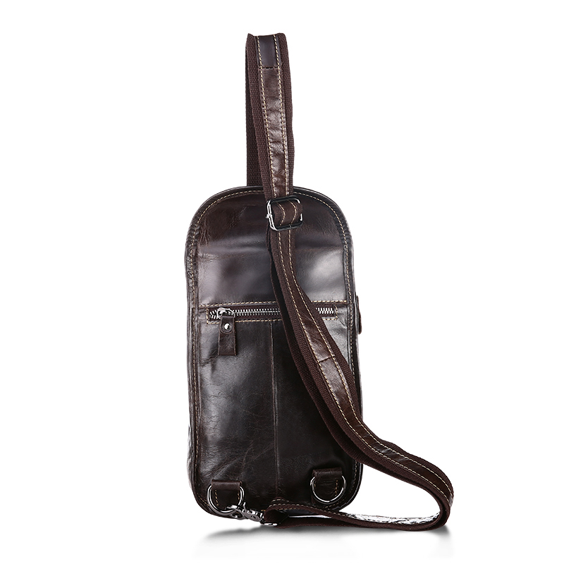COMFORSKIN New Arrivals Premium Oil Wax Leather Men Chest Bags Retro Patchwork Zipper Men Messenger Bags with Adjustable Strap in Crossbody Bags from Luggage Bags