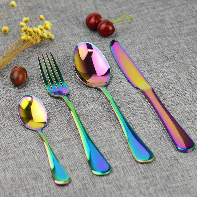 Fypo 4Pcs/set Flatware Set Stainless Steel Rainbow Cutlery Set Western Food Colorful Dinnerware Set For Family And Hotel