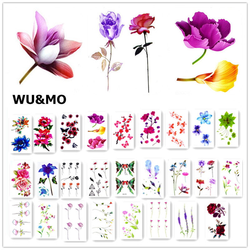 Colorful Flower Body Art Sexy Harajuku Waterproof Temporary Tattoo For Man Woman Henna Fake Flash Tattoo Stickers