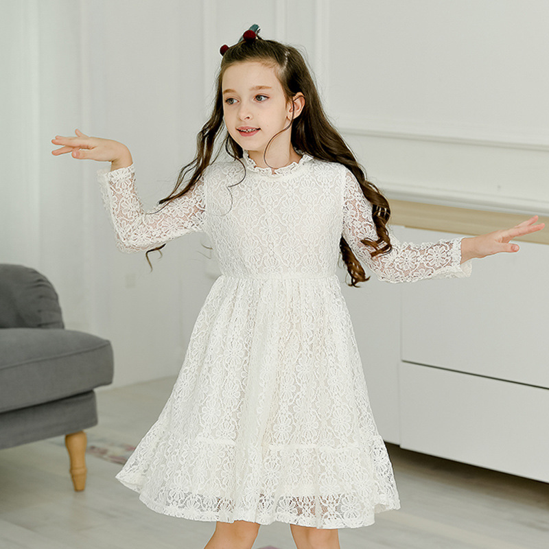 lace autumn girls dress long sleeve spring kids white party princess dresses girl teenagers a line children clothing 2018
