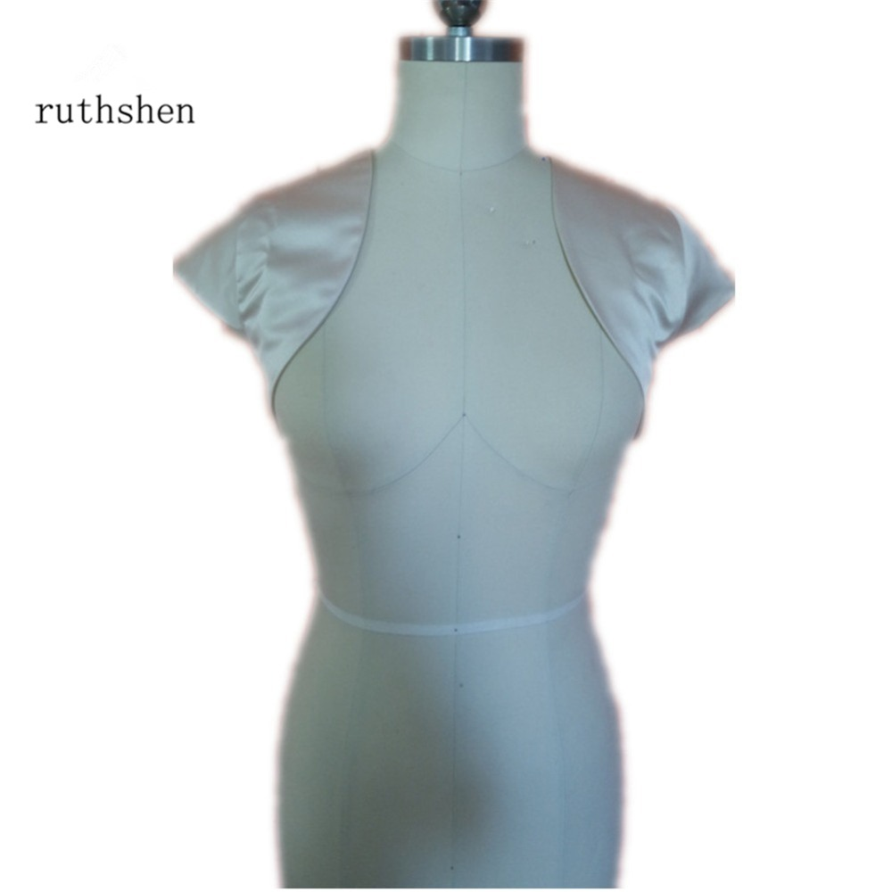 ruthshen Wedding/Bridal White/Black/Ivory Satin Bolero Jacket Short ...