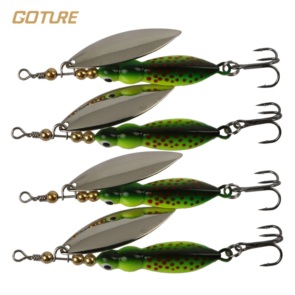 Goture 4pcs/lot Spinner Bait Fishing Lures Trout Metal Spoon Artificial Bait Fishing Tackle 15g/9cm goture fishing trout spoon metal lure bass fishing spinner bait 7g 10g stainless mustad hooks with feather artificial bait