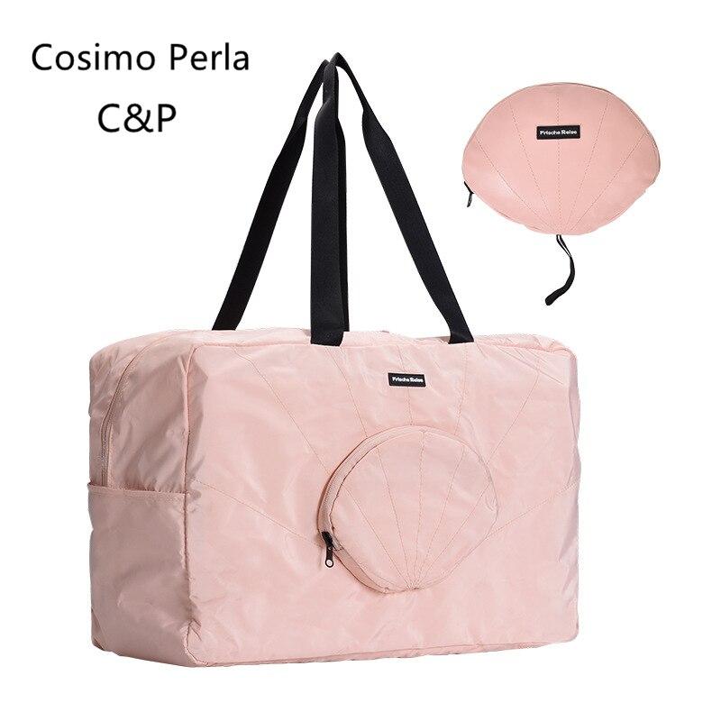 Large Waterproof Foldable Storage Bag Unisex Portable Reusable Shopping Bag Short Trip Girls Travel Tote bag Fitness Yoga Bags