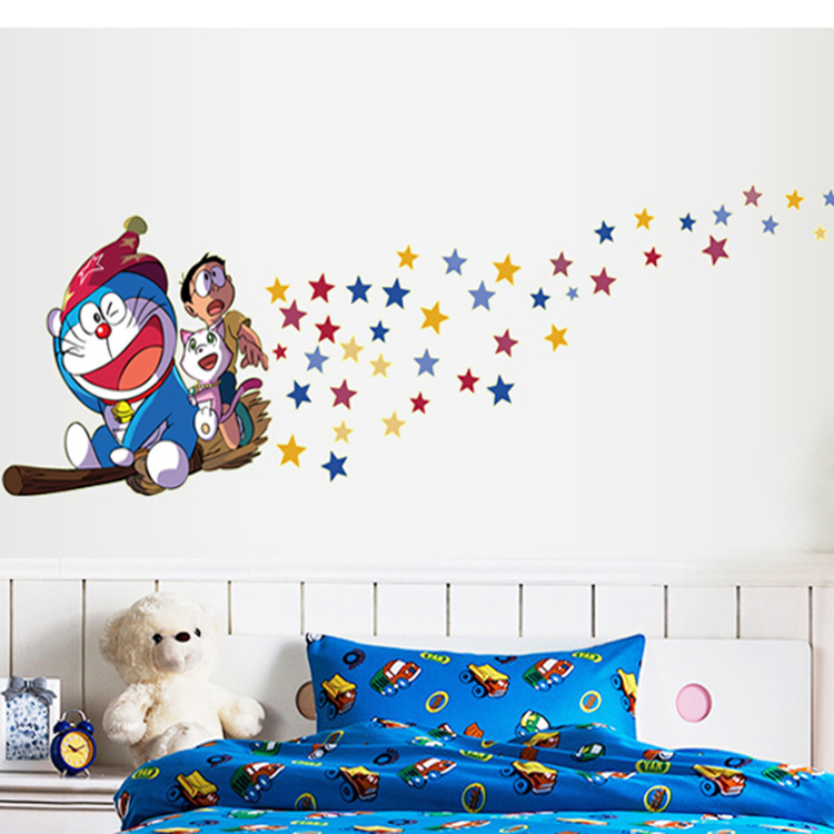 Cartoon Doraemon Jingle Cats Luminous Wall Stickers For children bed kids room Removable wall decoration stickers
