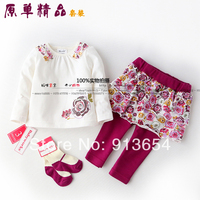 new 2019 spring autumn baby clothing set child Print Long sleeve t shirts + pants Skirts + socks 3pcs set kid t shirt culottes