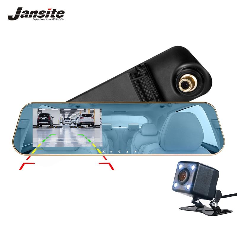 Jansite Car DVR Dual Lens Full HD 1080P Dash Cam Rearview Mirror Car Camera Video Recorder With Rear view DVR Auto Registrator best dual lens car dvr mirror 4 3 inch full hd 1080p car blue rearview mirror camera dvr digital video recorder auto dash camara