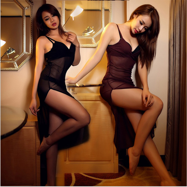 1 Pc Erotic Porn Woman Lingerie Sexy Intimates Soft Yarn Belt Nightgown Temptation Split Dress Sleepwear