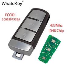 WhatsKey 3 Button 433Mhz ID48 Chip 3C0959752BA Key Remote Car Key For Volkswagen Magotan CC Passat B6 B7 недорого