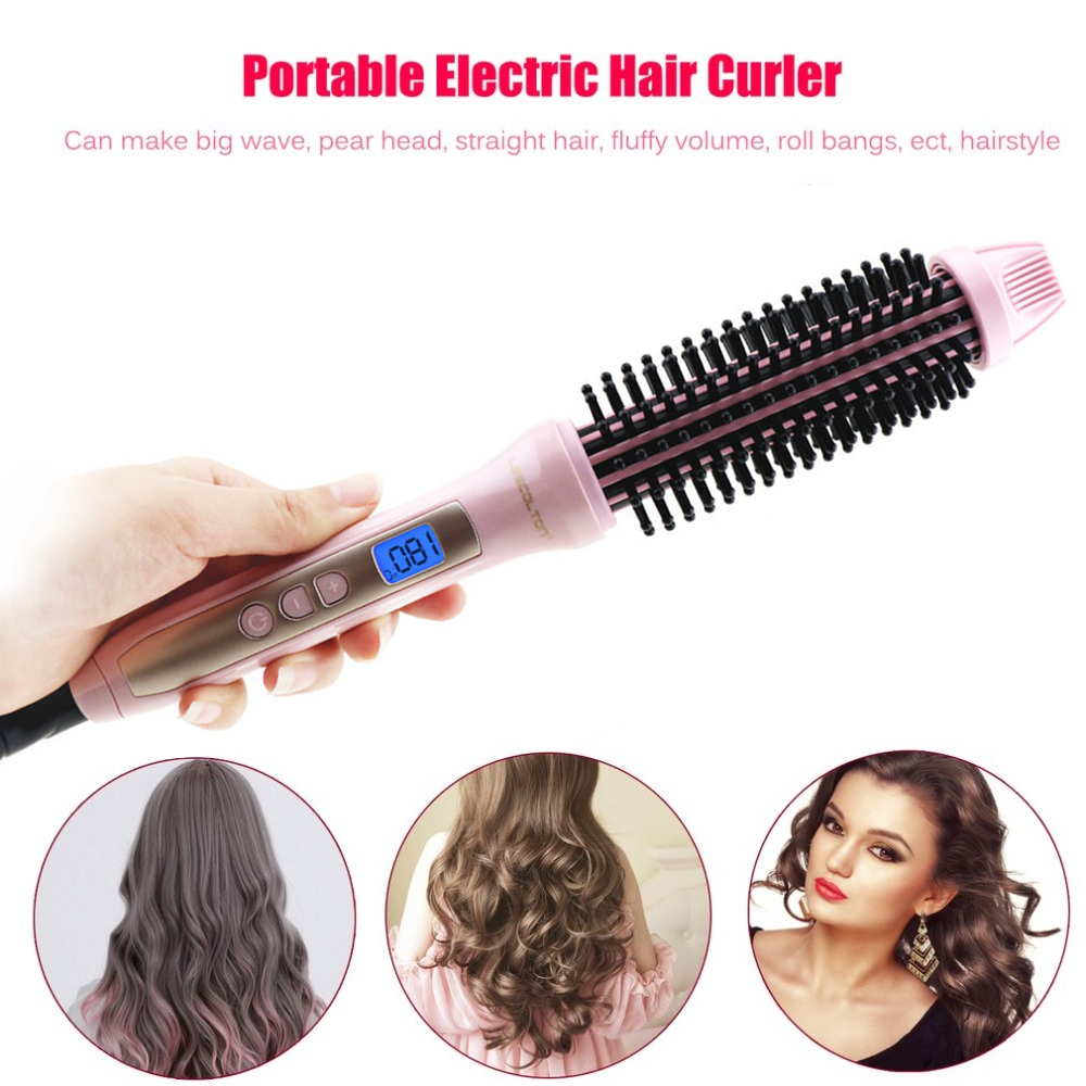 Lescolton 2 in 1 Ceramic Hair Curler Brush Electric Comb Hair brush LCD Curling Fluffy Brush Curlers iron Hair Styling Tools new hair curler steam spray automatic hair curlers digital hair curling iron professional curlers hair styling tools 110 240v