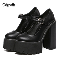 Gdgydh New Arrival Women Classic Pumps Shoes Spring Summer Black Leather Mary Jane Heels Fashion Buckle Platform Shoes Woman