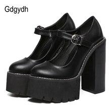 Gdgydh escarpins en cuir noir pour femmes, chaussures classiques à talons, à la mode, boucle à plateforme, printemps été, nouveauté
