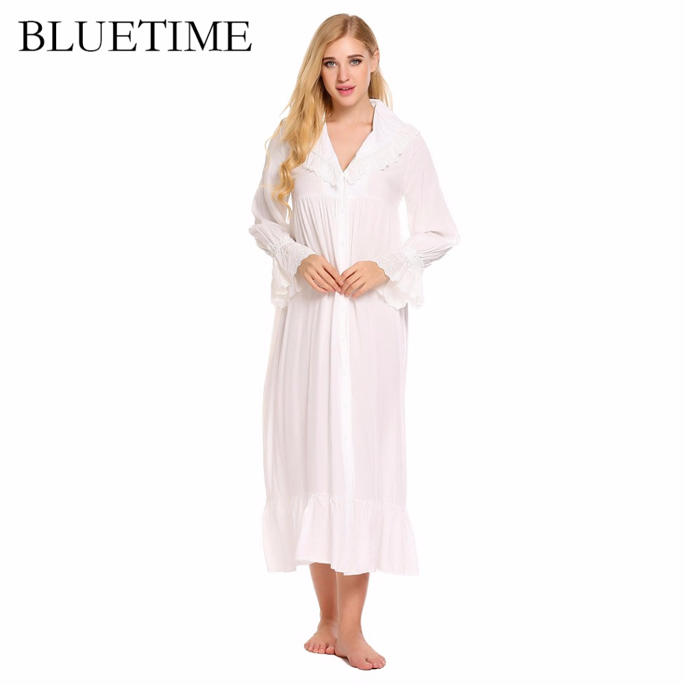 BLUETIME Victorian Style Vintage Women Nightgown Nightshirt Long Sleeve Home Nightdress Sleepwear Night Dress Clothes XXL A7 pregnant women long nightdress women sleep nightshirt winter flannel thickening long nightgown maternity