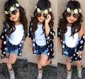 2016 New arrived summer hot girls clothing set(floral blouse+vest+denim shorts)3pcs cool kids girls clothes
