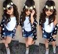2016 Nuevo llegado hot summer girls clothing set (blusa floral + chaleco + pantalones cortos de mezclilla) 3 unids fresco muchachas de los cabritos ropa