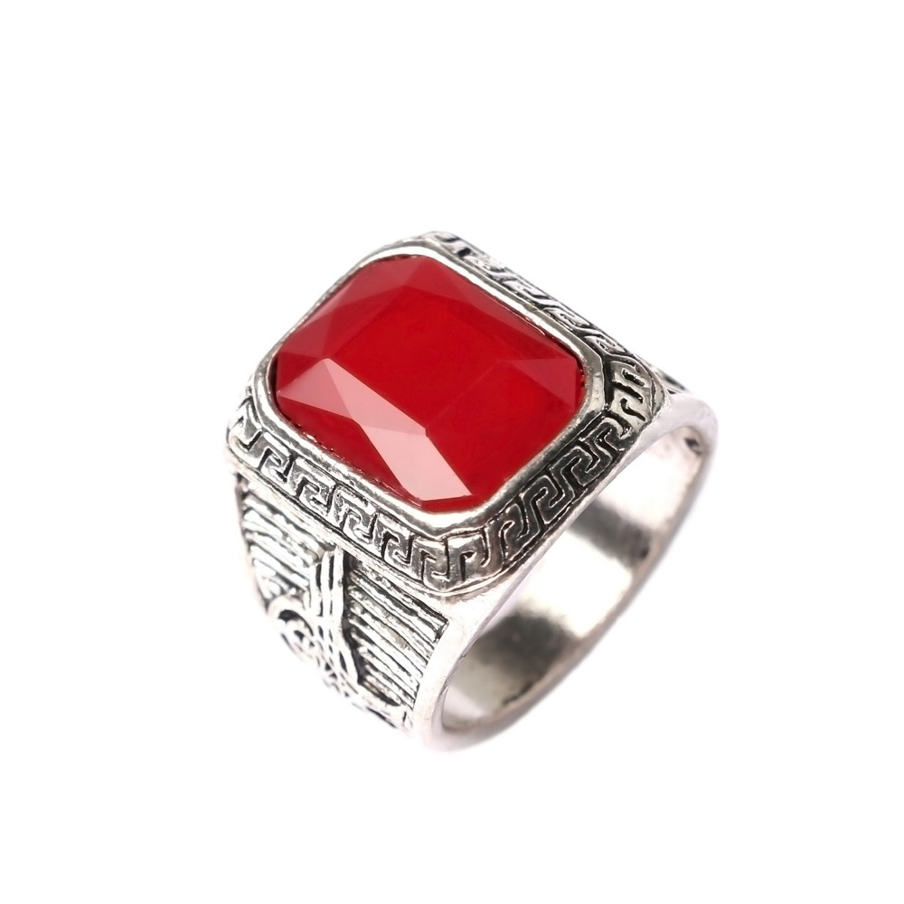 Men Rings Big Black/Red Carved Stone Antique Silver Plated Ring For Women Retro Texture Engraved Wholesale Lover ring