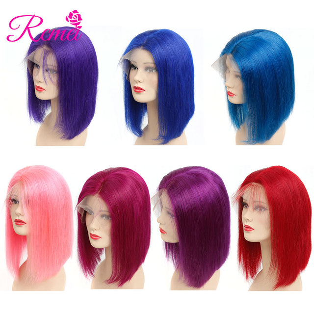Rcmei Colored Human Hair Wigs Brazilian Straight 13*4 Lace Front Wigs Pre Plucked With Baby Hair Red Pink Blue Purple Color Remy