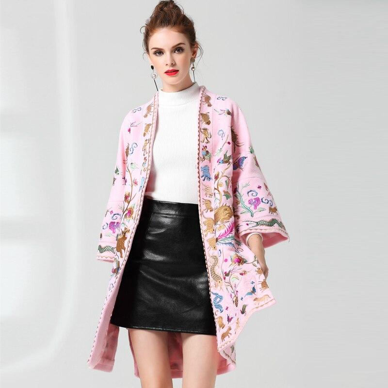Cardigan Femmes Manteau Flare Cou Automne Black Broderie pink Manches Brodé Lâche Haut Veste Pour Vestes Fendu Long V De Laine qYtPdIwI