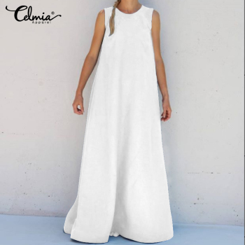 2020 Celmia Women Summer Sleeveless Maxi Long Dress Plus Size Sundress Casual Loose Solid Party Holiday Vestidos Robe Femme 5XL 2