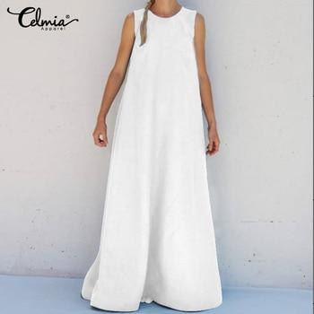 2020 Celmia Women Summer Sleeveless Maxi Long Dress Plus Size Sundress Casual Loose Solid Party Holiday Vestidos Robe Femme 5XL 2