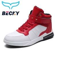 Men Sneakers high top Running Shoes pu leather Breathable sports fashion autumn casual shoes exercise fitness Footwear