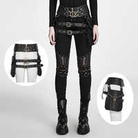 Punk Heavy Metal Rock Leather Belt Bags Black Fashion Causal Waistband with Two Bags