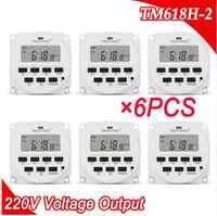 6 pçs/lote TM618H-2 220 v ac tensão saída relé de tempo digital 7 dias semanal programável temporizador interruptor 220 v para luzes aplicações