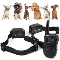 Rechargeable 330 Yd Remote Dog Training Shock Collar Vibration Shock E Collar 2 Receivers Training Collar