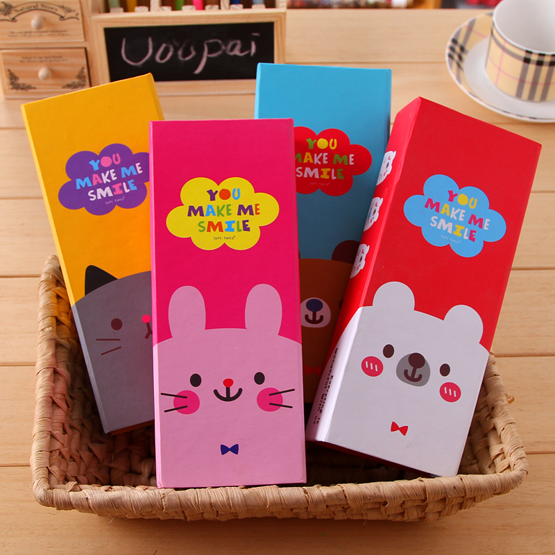 Stationery Cartoon Animal Box Brief Pencil Case Girls Carton 4pcs Lot Free Shipping Paper Crafts In Cases From Office School Supplies