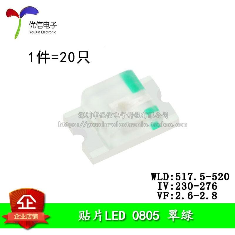 0805 SMD LEDs High Bright Green Emerald Light Emitting Diodes (20pcs/lot)