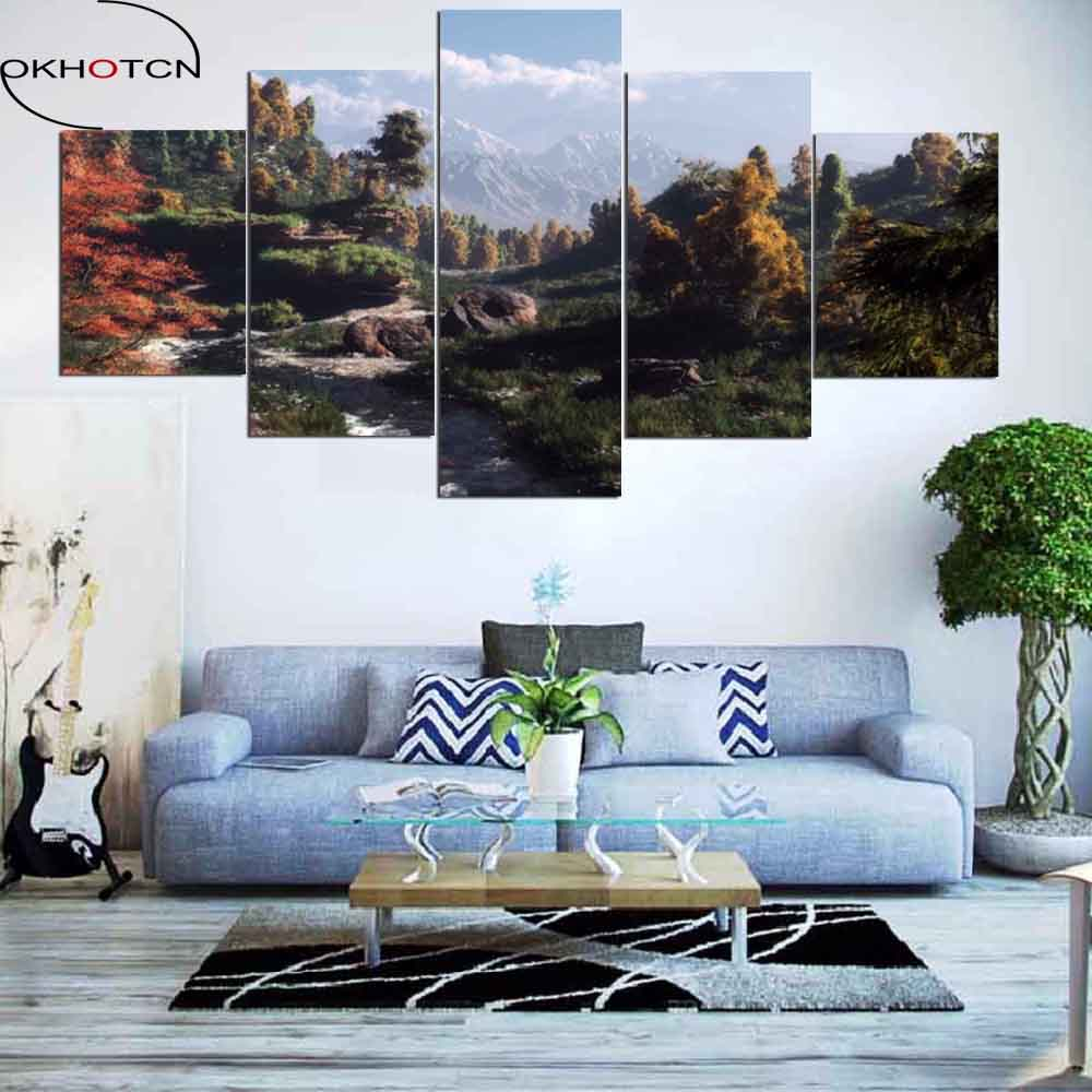 OKHOTCN Холст Картина 5 Панель берег реки и плато вид холст принт Книги по искусству Home Decor Wall Книги по искусству фотографии для Гостиная рамка ...