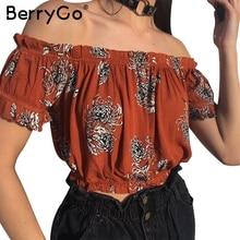BerryGo Print off shoulder elegant blouse shirt Summer short sleeve blouse blusas women tops Casual streetwear sexy blouse 2017