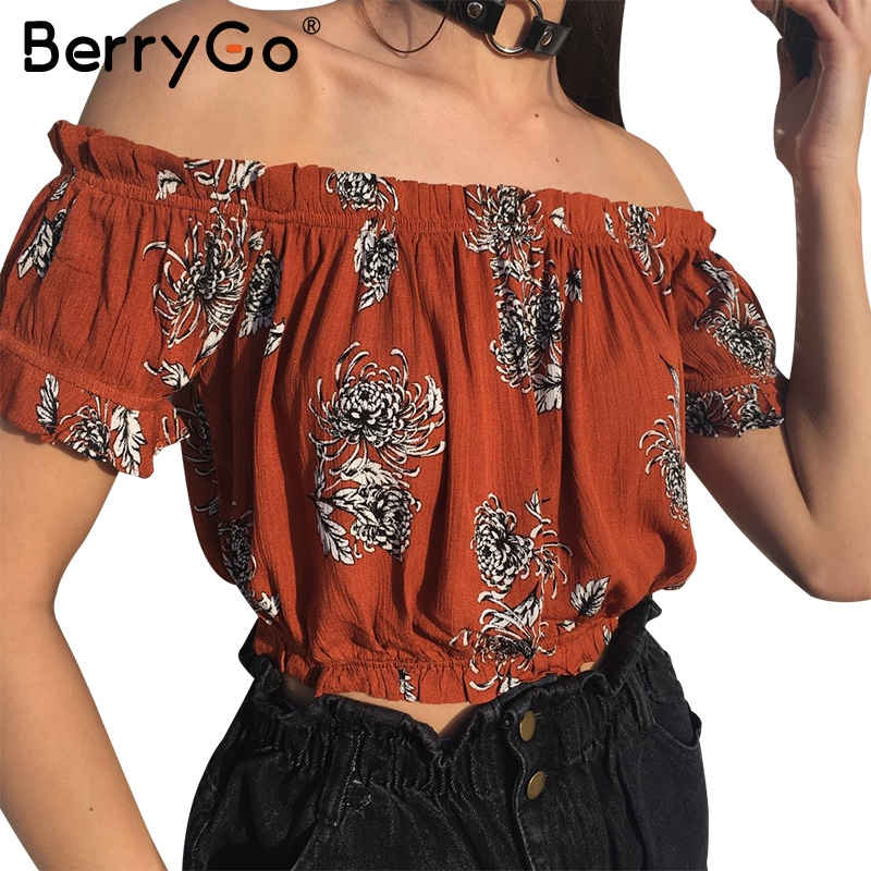 BerryGo Print off shoulder elegant   blouse     shirt   Summer short sleeve   blouse   blusas women tops Casual streetwear sexy   blouse   2017