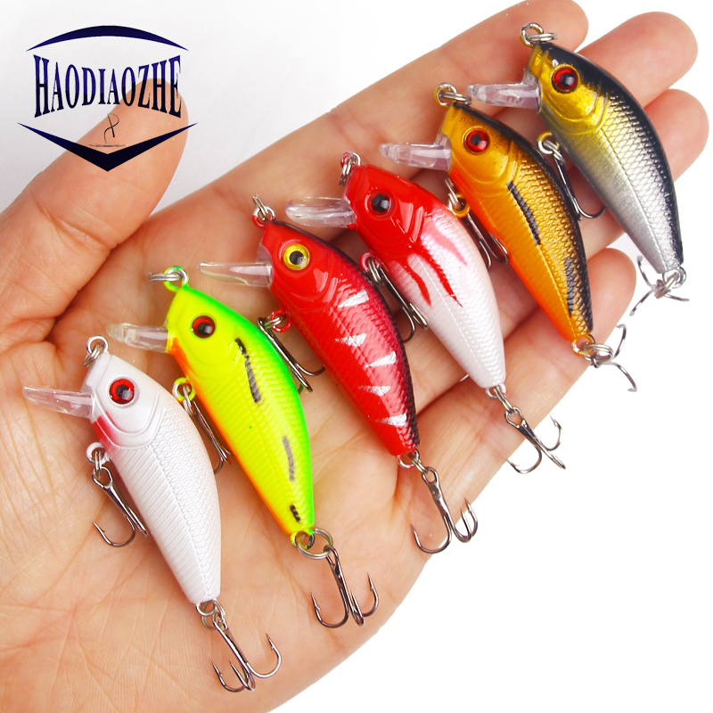 HAODIAOZHE 1Pcs Crankbait Fishing Lure Minnow Baits Topwater Floating Isca Artificial Wobblers 5cm 3.7g Colors Fish Tackle YU204