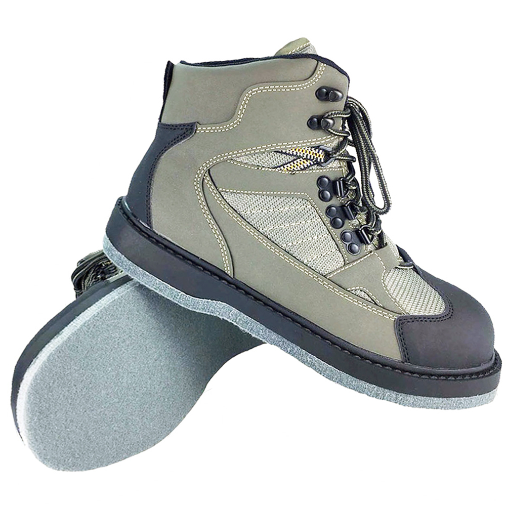 Fly Fishing Waders Hunting Boots Upstream Fishing Shoes Felt Anti Slippery Sole Army Green Leather Lace