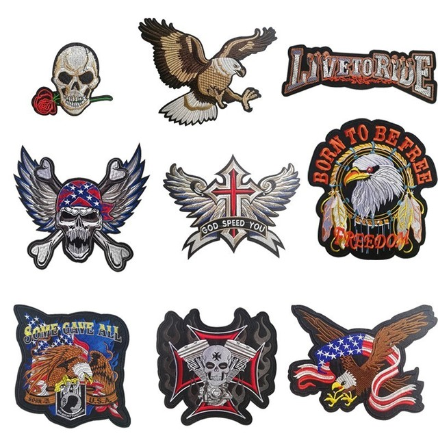 7a9bbb9f PGY Cheap Punk Rock Bike Patch Large Embroidery Biker Patch Motorcycle Iron  On Patches For Clothes Jeans Vest Jacket Back Patch
