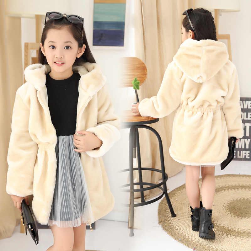 ילדי בנות חורף מעילים חדש 2017 אופנה מותג עבה מזויף פרווה חם תינוק מעיל מוצק מקרית סלעית ילדים בגדי Outwears
